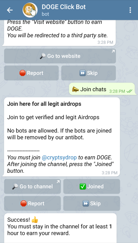 Telegram dogeclick faucet join chat for free doge