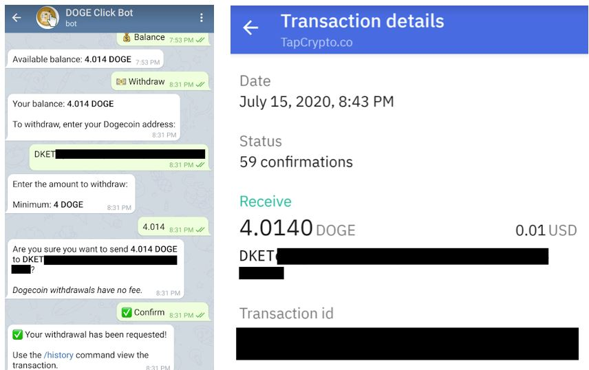Telegram Dogecoin Clickbot Payment Proof 7-15-2020