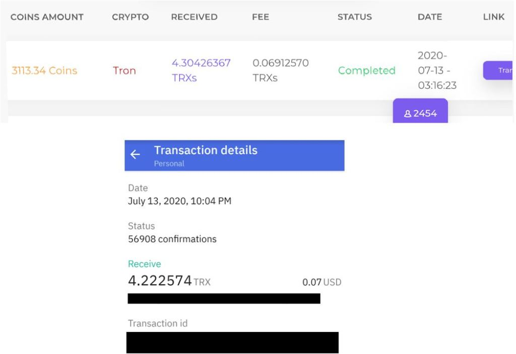 FaucetCrypto Tron Payment Proof 7-13-2020