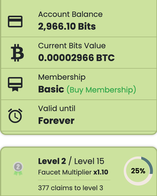 GraBTC account balance, experience level, and faucet claim multiplier