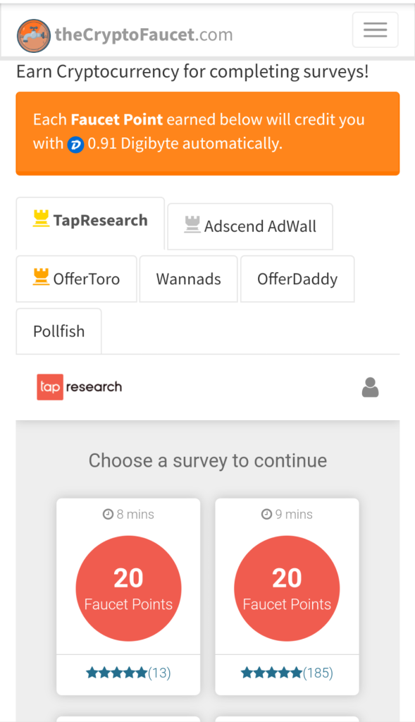 TheCyrptoFaucet offerwall and survey options