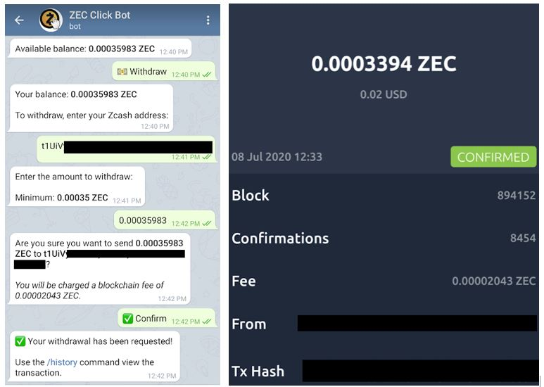 Telegram Zcash Clickbot Payment Proof 7-8-2020