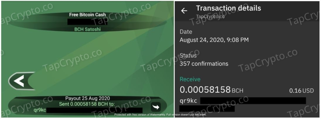 Free Bitcoin Cash Android App Payment Proof 8-25-2020