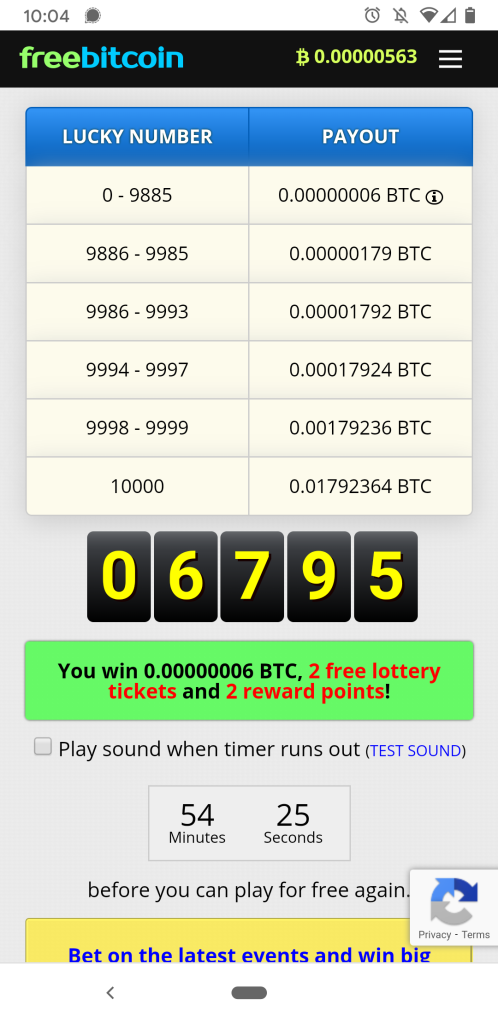 FreeBitco.in Hourly Free Roll Faucet Payouts