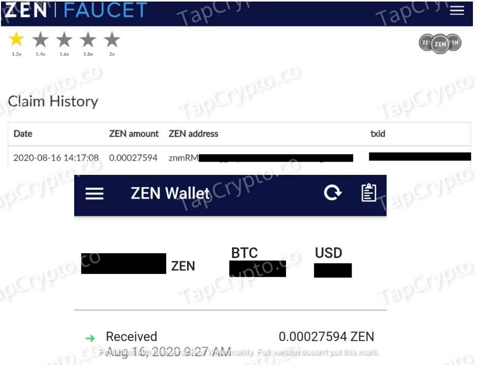 GetZen.Cash Payment Proof August 16, 2020
