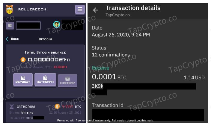Rollercoin Payment Proof 8-26-2020