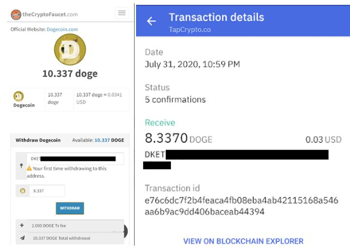 TheCryptoFaucet Dogecoin Payment Proof 7-31-2020