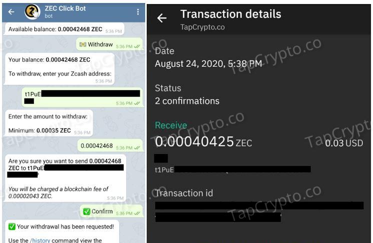 Telegram Zcash Clickbot Payment Proof 08-24-2020