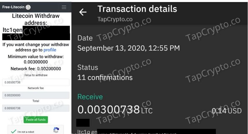 Free-Litecoin.com Payment Proof 9-13-2020
