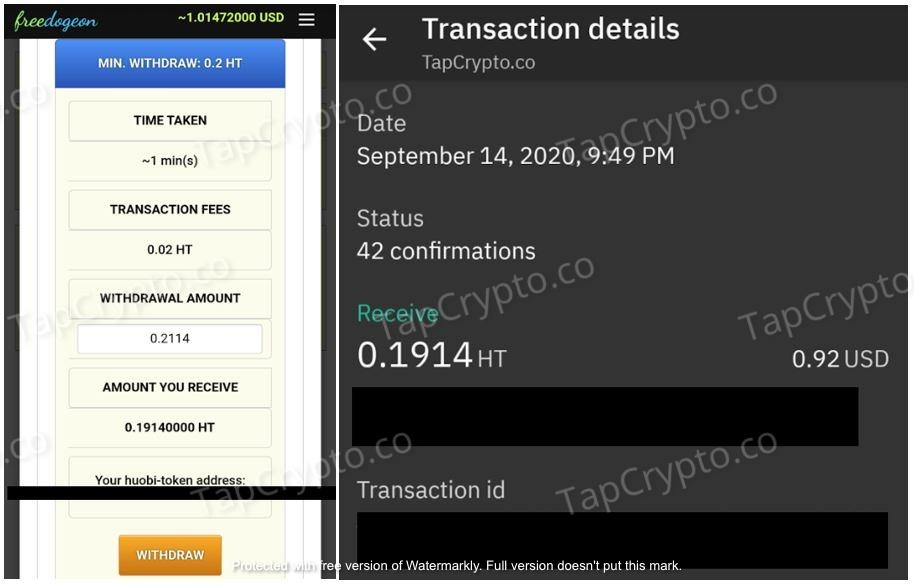 FreeDogeon.com Huobi Token Payment Proof 9-14-2020