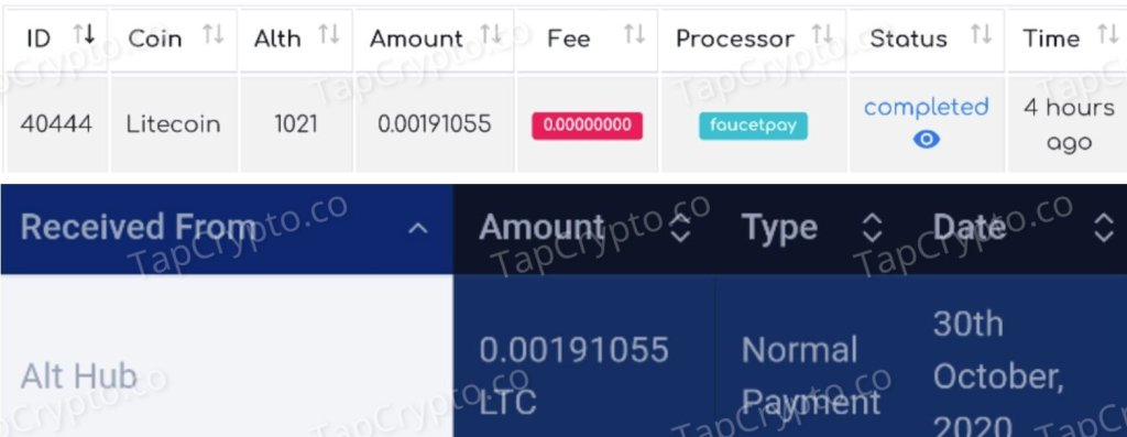 Althub Litecoin Payment Proof 10-30-2020