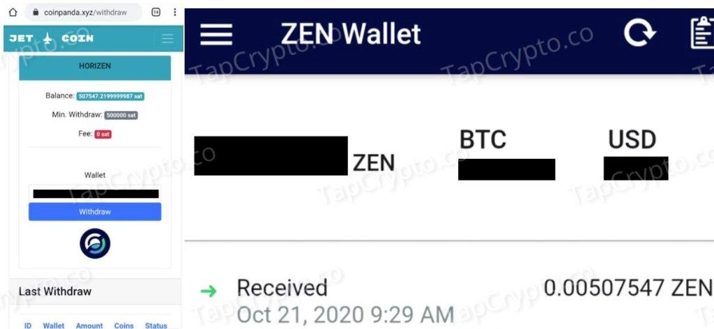CoinPanda.xyz Horizen Payment Proof 10-21-2020