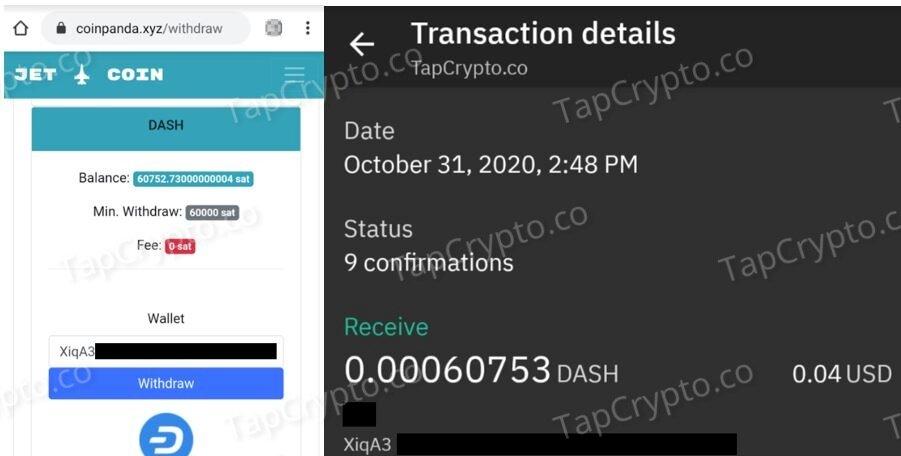 CoinPanda Dash Payment Proof 10-31-2020