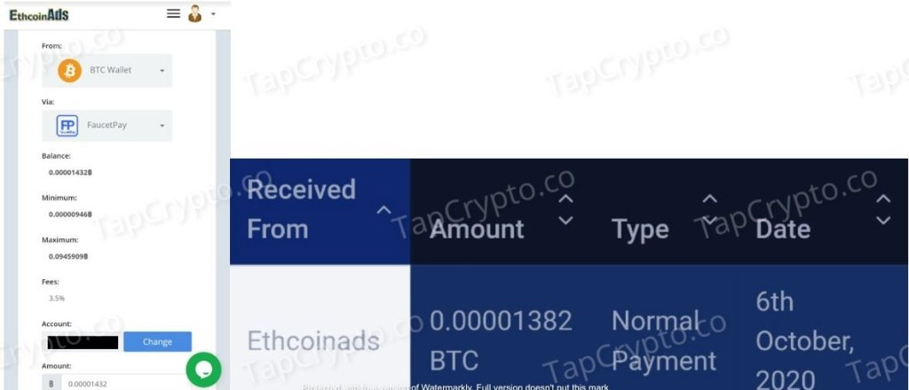 ETHCoinAds Payment Proof 10-6-2020