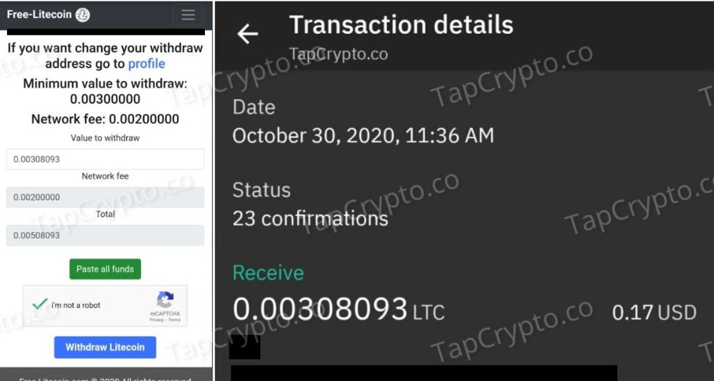 Free-Litecoin Payment Proof 10-30-2020
