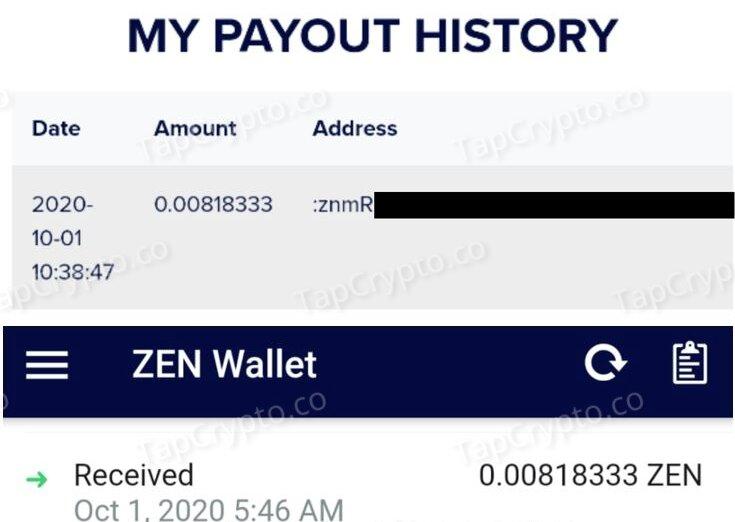 GetZen Horizen Payment Proof 10-01-2020