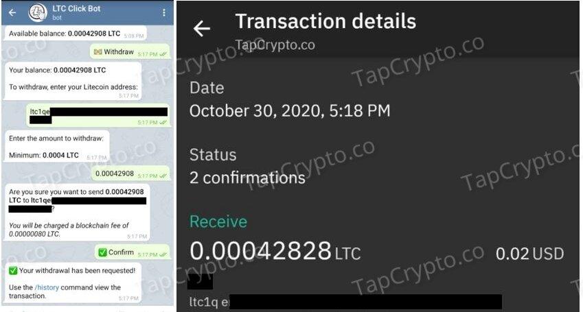 Telegram Litecoin Clickbot Payment Proof 10-30-2020
