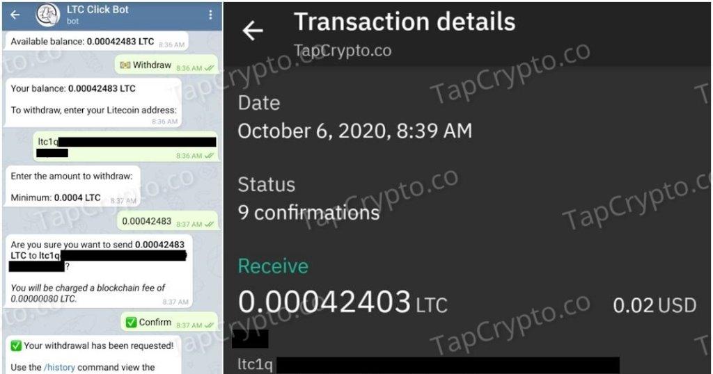 Telegram Litecoin Clickbot Faucet Payment Proof 10-6-2020