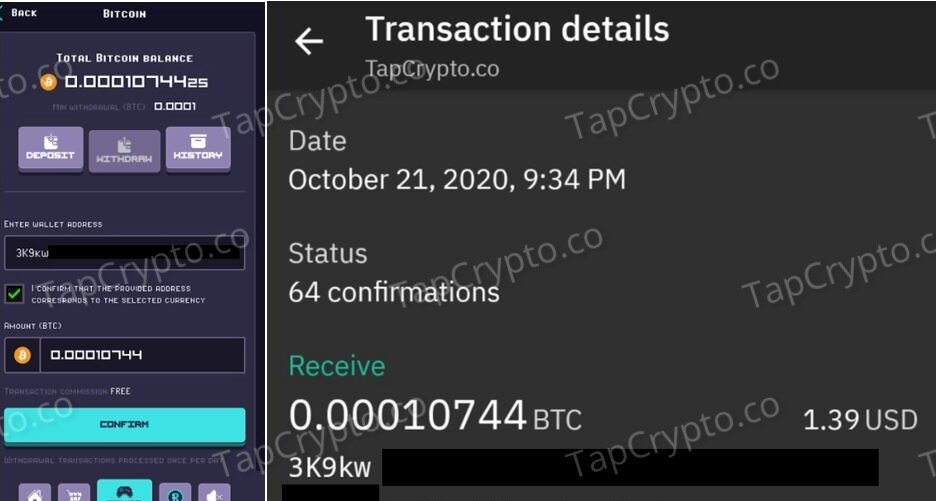 RollerCoin Bitcoin Payment Proof 10-22-2020