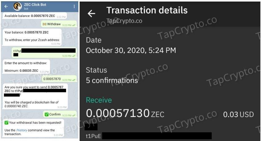 Telegram Zcash Clickbot Payment Proof 10-30-2020