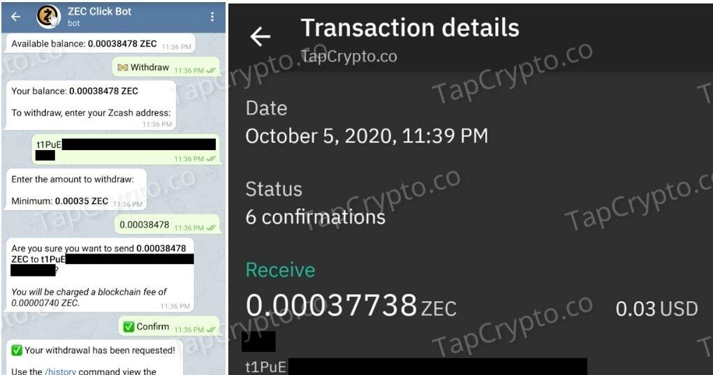 Telegram Zcash Clickbot Faucet Payment Proof 10-5-2020