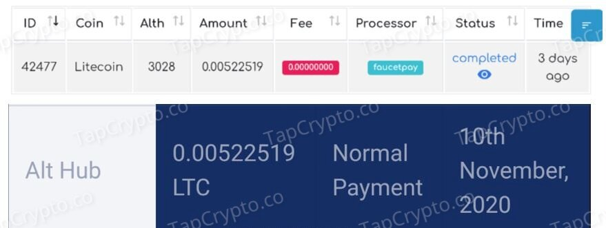 AltHub Litecoin Payment Proof 11-10-2020