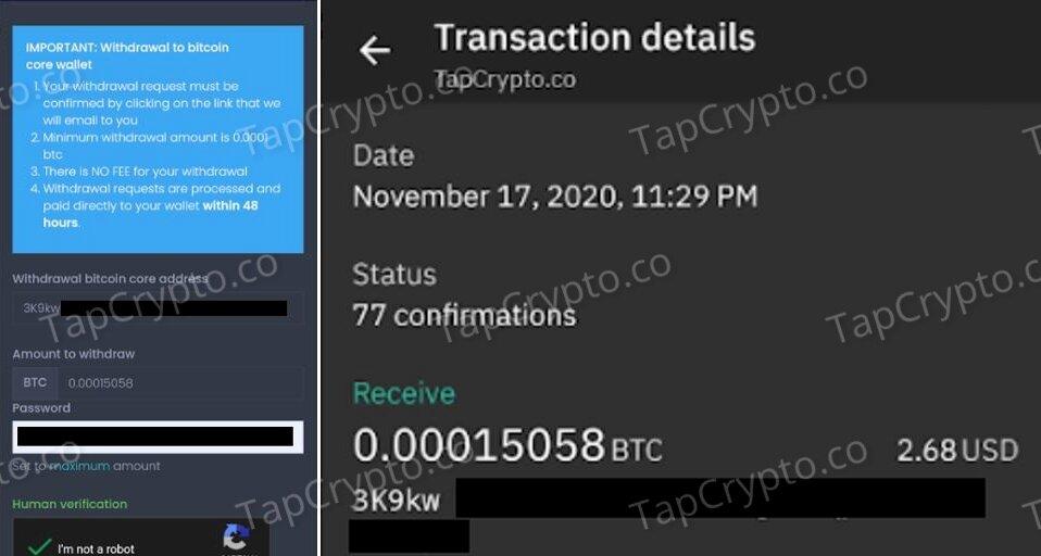 Coinpot Bitcoin Payment Proof 11-17-2020