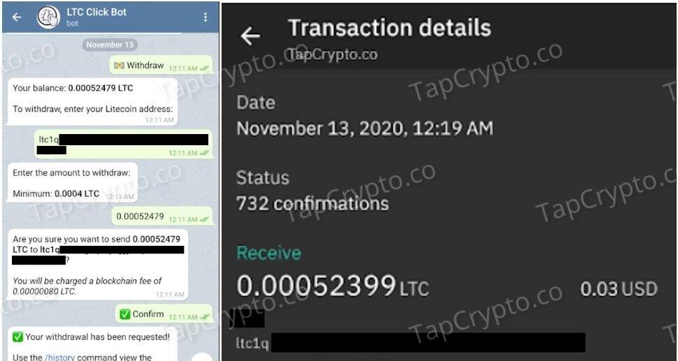 Telegram Litecoin Clickbot Payment Proof 11-13-2020