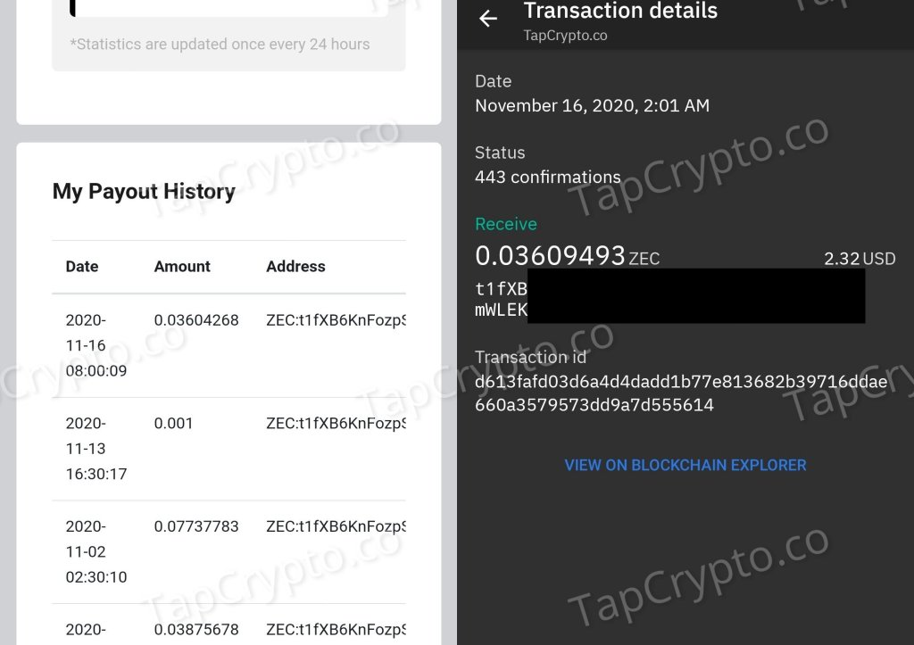 PipeFlare Zcash Payment Proof 11-16-2020
