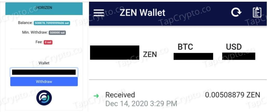 CoinPanda Horizen Payment Proof 12-14-2020