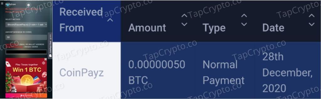 CoinPayz.xyz Bitcoin Payment Proof 12-28-2020