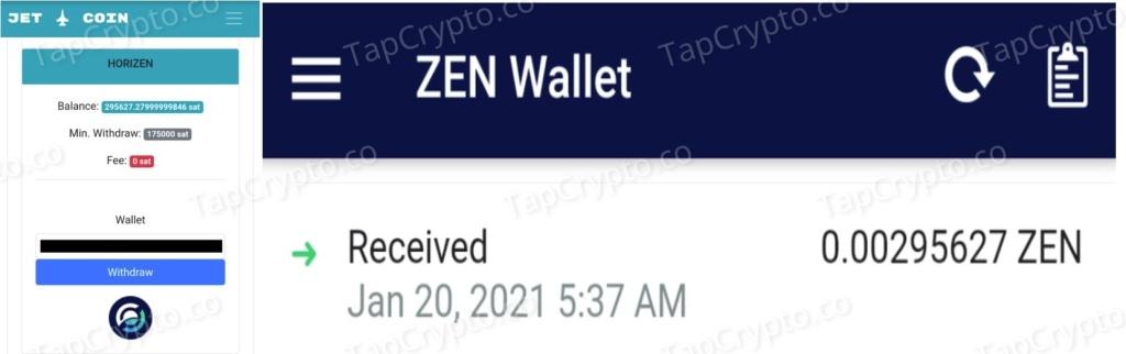 CoinPanda Horizen Payment Proof 1-20-2021