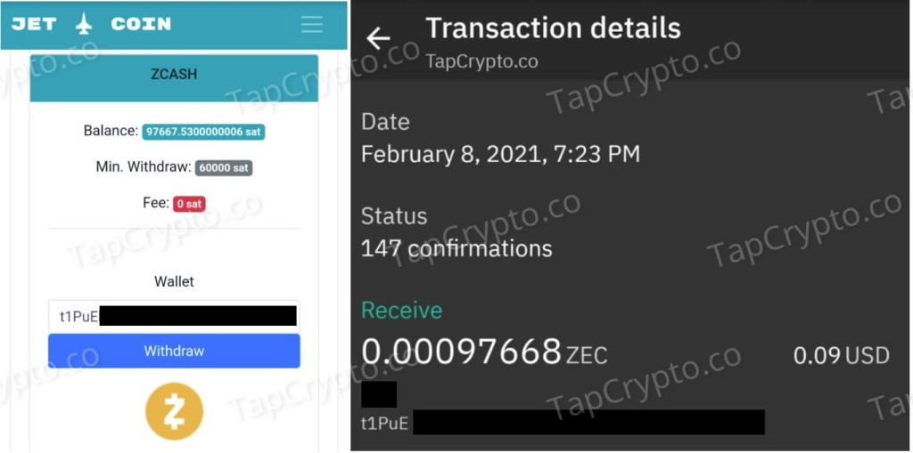 CoinPanda Zcash Payment Proof 2-8-2021