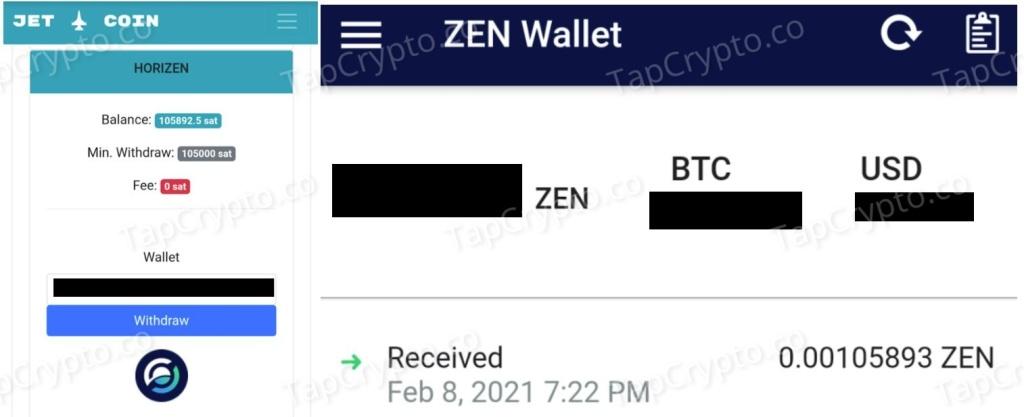 CoinPanda Horizen Payment Proof 2-8-2021