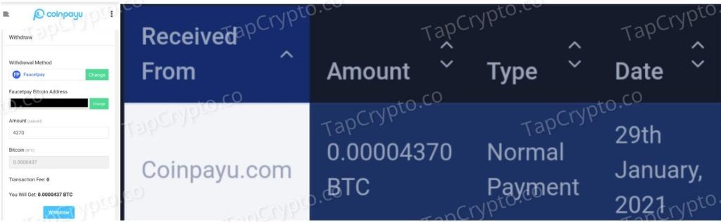 CoinPayU Bitcoin Payment Proof 1-29-2021