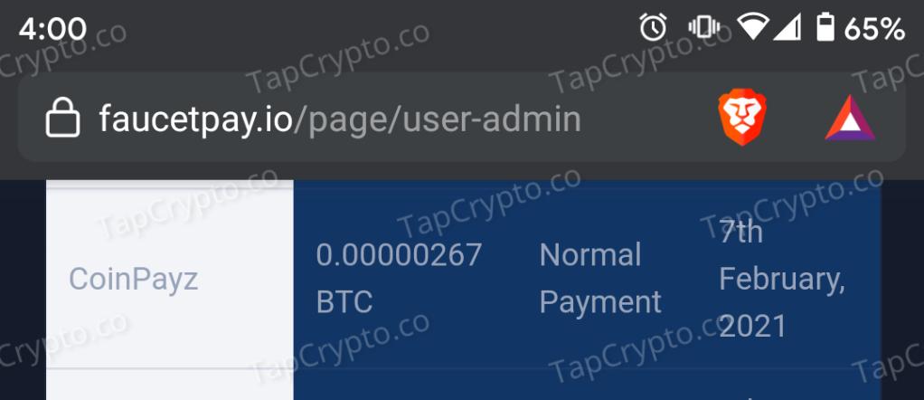 CoinPayz.xyz Bitcoin Payment Proof 2-7-2021