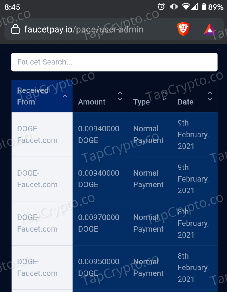 Doge-Faucet Dogecoin Payment Proof 2-8-2021