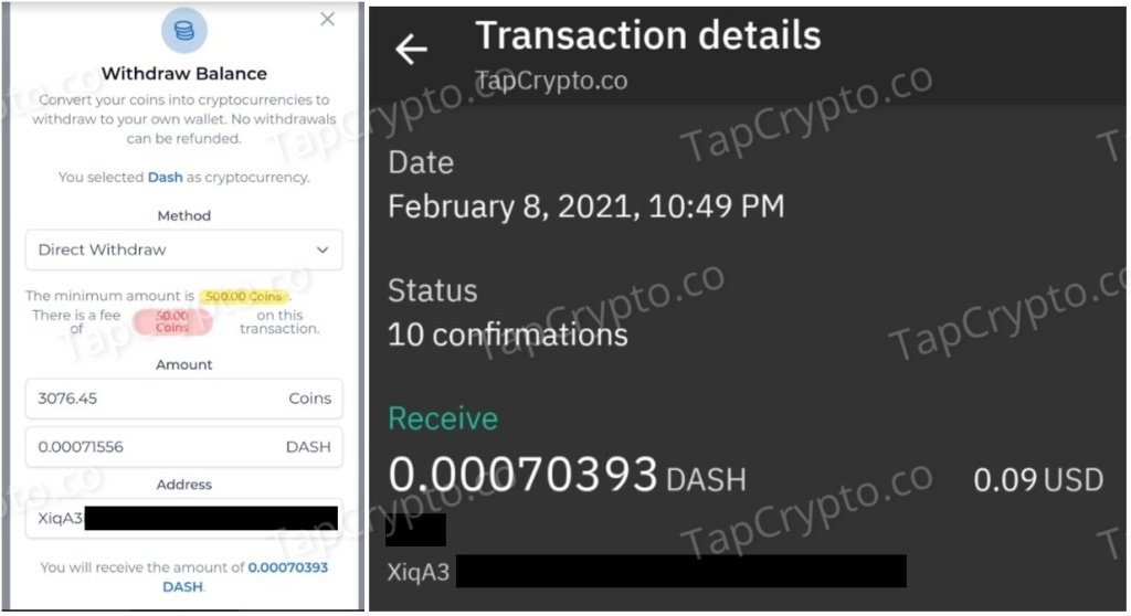 FaucetCrypto Dash Payment Proof 2-8-2021