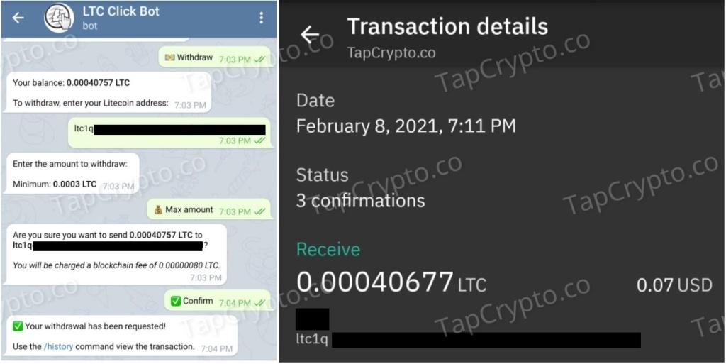 Telegram Litecoin Clickbot Payment Proof 2-8-2021