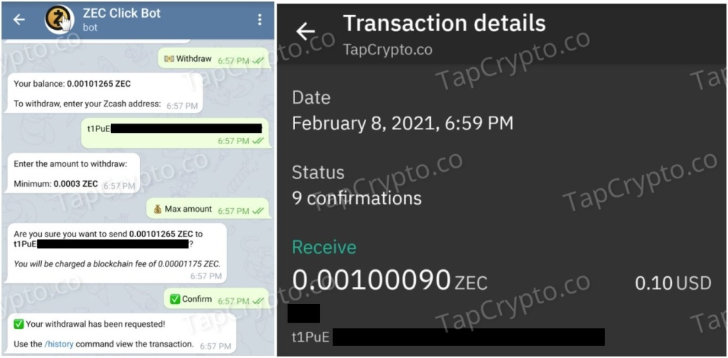 Telegram Zcash Clickbot Payment Proof 2-8-2021