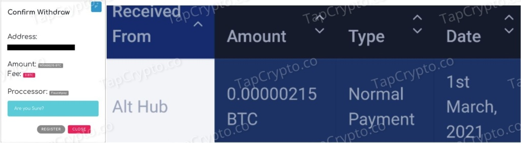 Althub Bitcoin Payment Proof 3-1-2021
