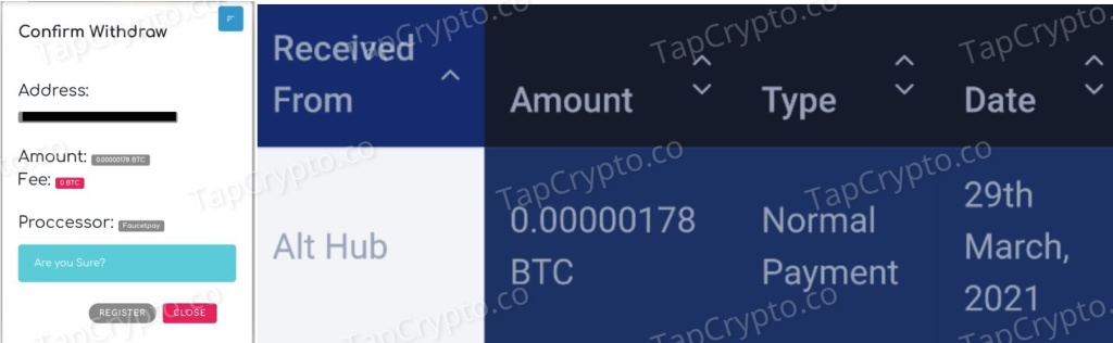 AltHub Bitcoin Payment Proof 3-29-2021