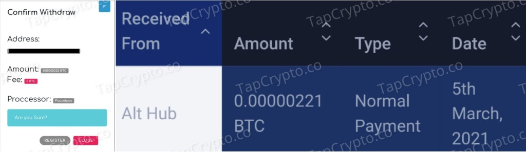 AltHub Bitcoin Payment Proof 3-5-2021