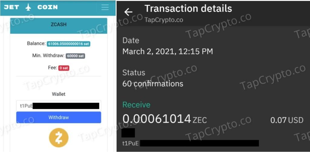 CoinPanda.xyz Zcash Payment Proof 3-2-2021