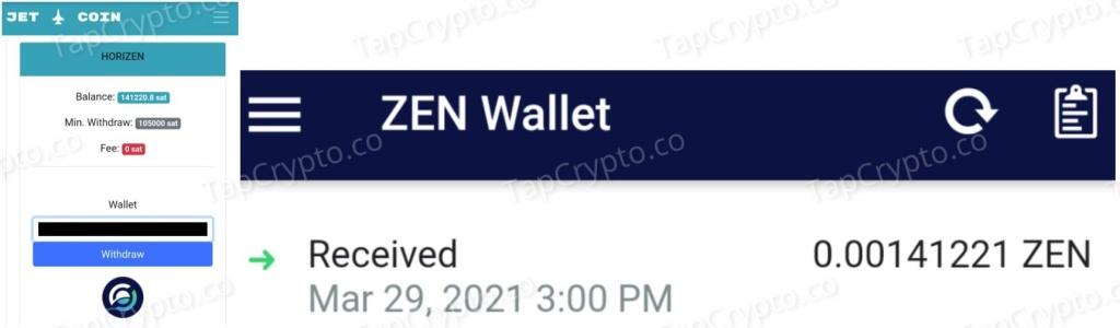 CoinPanda.xyz Horizen Payment Proof 3-29-2021