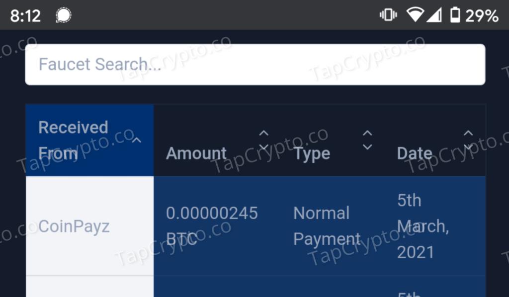 CoinPayz Bitcoin Payment Proof 3-5-2021