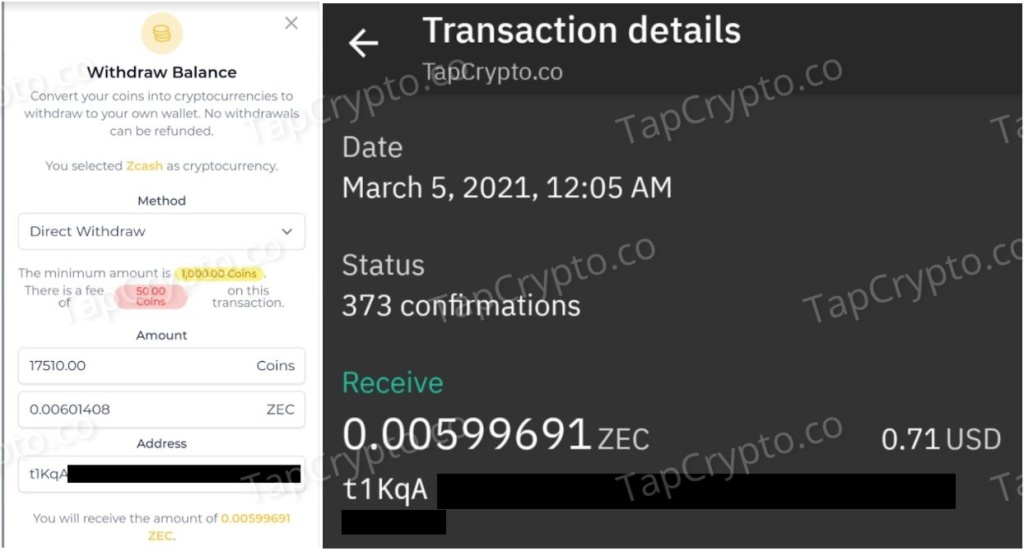 FaucetCrypto Zcash Payment Proof 3-5-2021
