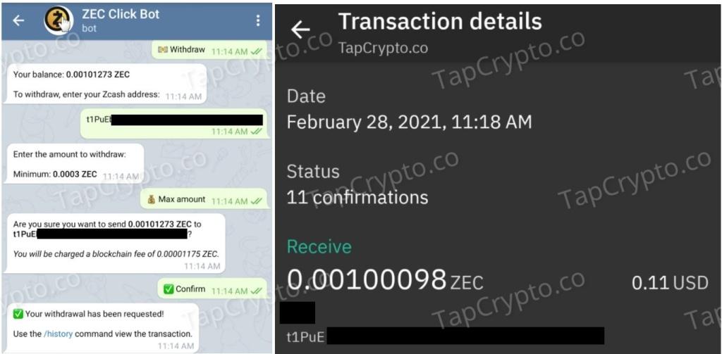 Telegram Zcash Clickbot Payment Proof 2-28-2021