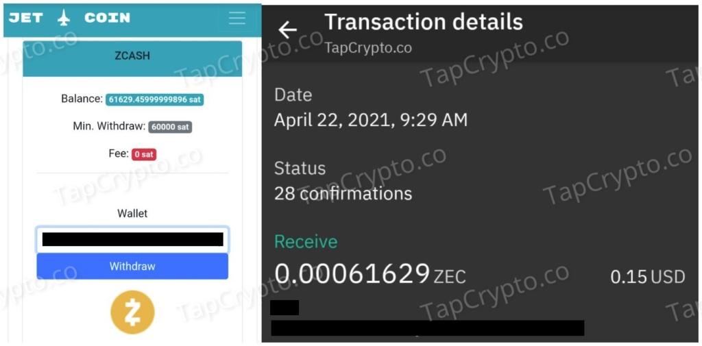 CoinPanda.xyz Zcash Payment Proof 4-22-2021