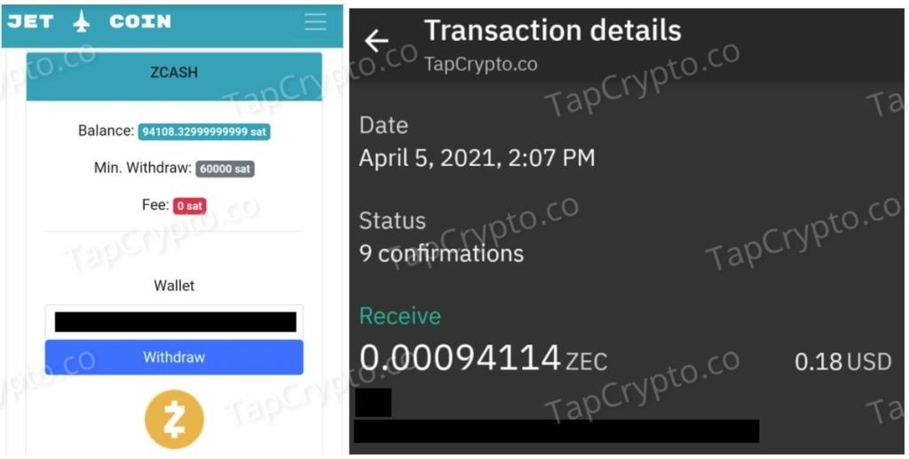 CoinPanda.xyz Zcash Payment Proof 4-5-2021